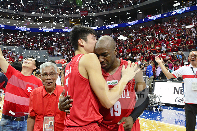 Finals MVP Arnaud Noah turns emotional after San Beda clinched the crown.