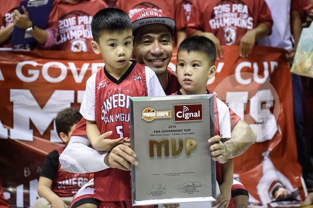 Tenorio celebrates his second Finals MVP award with his two sons, and another baby on the way.