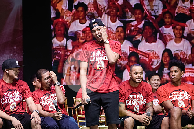 Rookie Scottie Thompson gets his turn to address the fans.