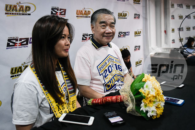 NU coach Ghicka Bernabe and team manager Jun Gaw at the press room.