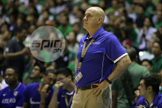 Ateneo coach Tab Baldwin looks on.
