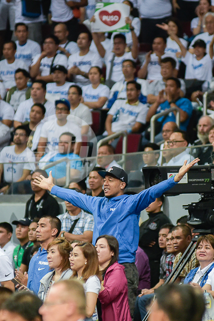 Late cut Calvin Abueva stands out in the crowd to cheer for Gilas.