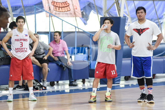 Beau Belga and Chris Tiu are reunited with former Rain or Shine teammate TY Tang in Mighty Sports' lineup in the Dubai tournament. Jaime Campos