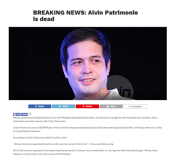 Online hoax about Alvin Patrimonio 'death' quickly nipped in the bud by wife Cindy
