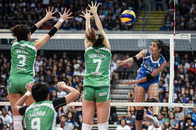 Alyssa Valdez, Jia Morado power Lady Eagles from two sets down to beat La Salle in 'Battle of Rivals'