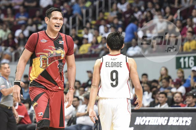 June Mar Fajardo takes time to tend to his body after showing full strength in breakout game