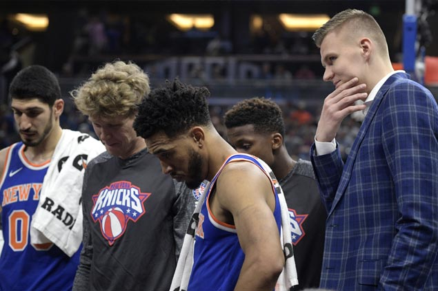 Kristaps Porzingis sits out Knicks match vs Magic due to ankle, elbow injuries