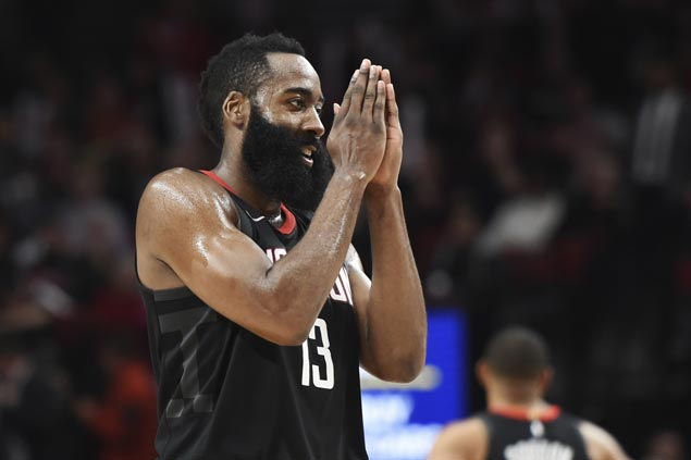 James Harden scores 48 as Rockets beat Blazers to extend win streak to nine