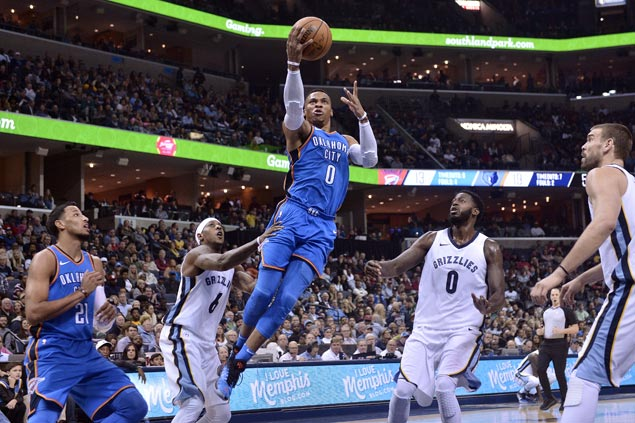 Westbrook overcomes poor shooting night, hits clutch free throws to lift Thunder over Grizzlies in OT