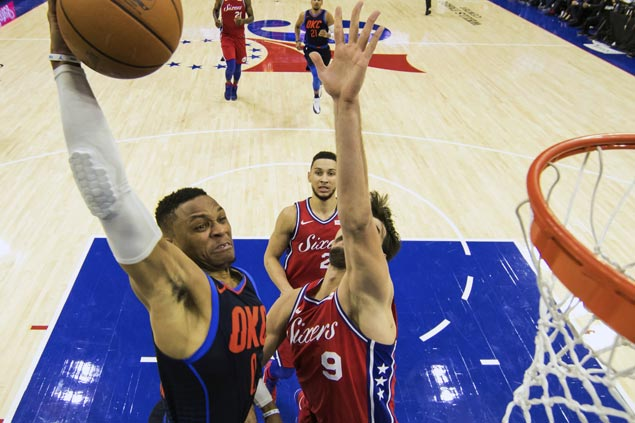 Russell Westbrook has triple-double as Thunder win triple overtime thriller against Sixers