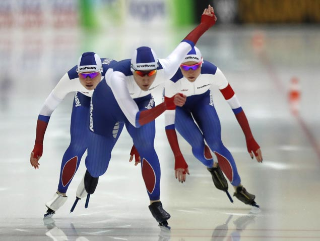 Russian speedskater banned from Olympics for doping wins gold in European Championships