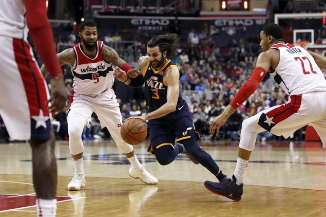 Ricky Rubio takes charge as undermanned Jazz repeat over error-prone Wizards