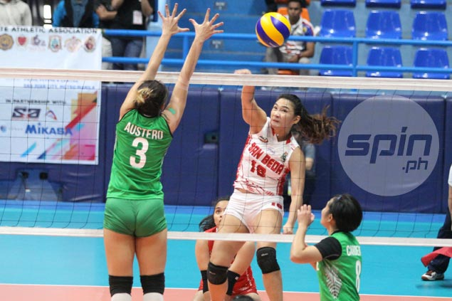 San Beda turns back CSB Lady Blazers for third win in row in NCAA volleyball