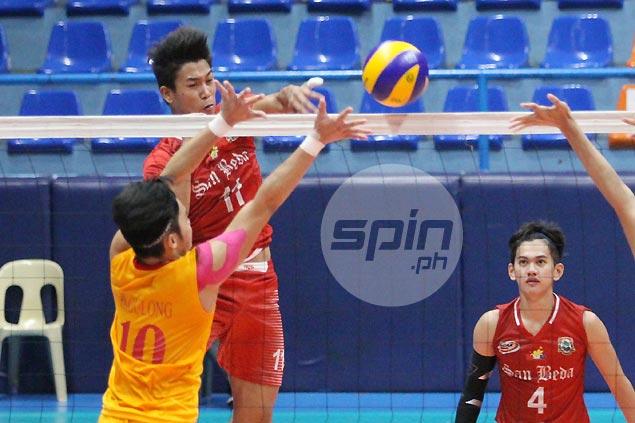 Mark Enciso drops 25 as San Beda beats Mapua to get a win run going in NCAA men's volleyball
