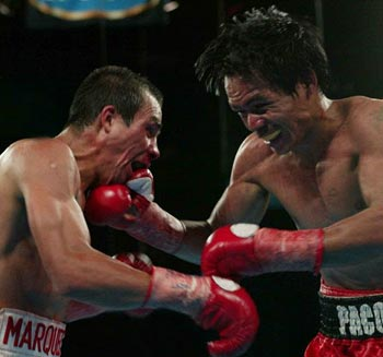 Manny Pacquiao settled for a draw with Juan Manuel Marquez in 2004.