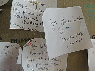 The note of support which Lee Kiefer asked to be tacked to the Philippine map.