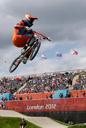 Raymon van der Biezen shows the way in the BMX seeding run. AP