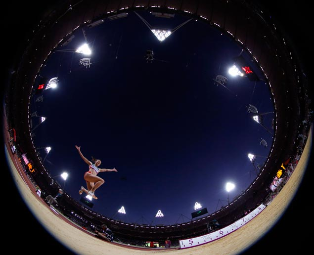 Belarus' Nastassia Mironchyk-Ivanova competes in the women's long jump final during the athletics in the Olympic Stadium. AP