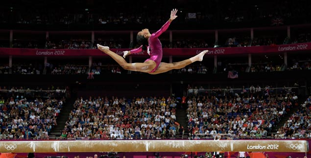 US gymnast Gabrielle Douglas performs on the balance beam during the artistic gymnastics women's individual all-around competition. AP