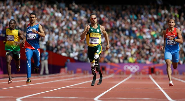 South Africa's Oscar Pistorius a.k.a. 'The Blade Runner' leads Jamaica's Rusheen McDonald (left), Dominican Republic's Luguelin Santos and Russia's Maksim Dyldin in a men's 400-meter heat. AP