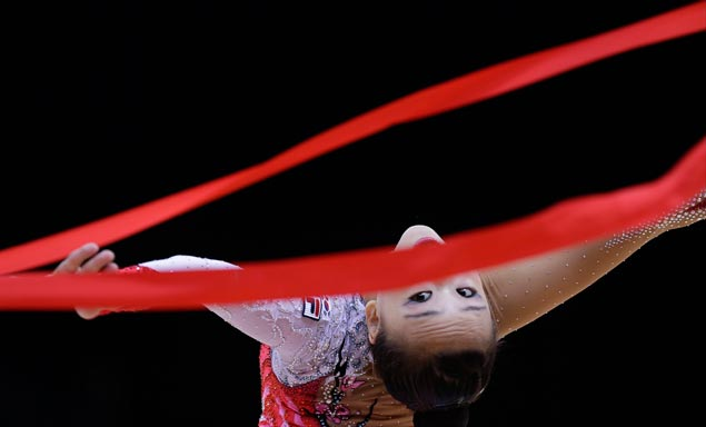 South Korea's Son Yeon Jae performs during the rhythmic gymnastics individual all-around qualifications. AP