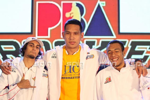 All eyes are expected to be on top three picks June Mar Fajardo (center), Calvin Abueva (right) and Alex Mallari as the PBA enters its 38th season. Jerome Ascano