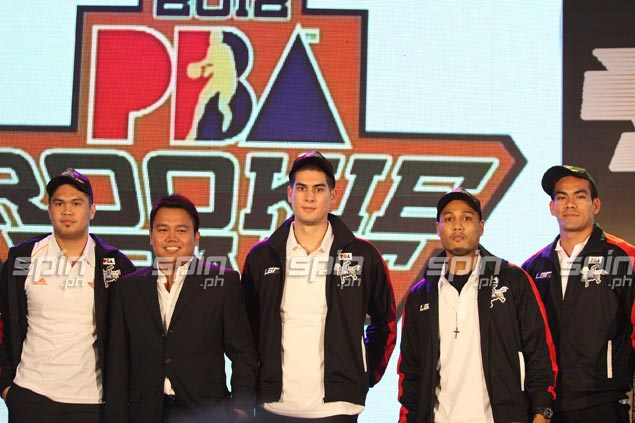 Mark Acosta is picked 26th (left) by Global Port, adding the former Mapua forward to the rookie lineup featuring Jason Deutchman (third left), AJ Mandani and Vic Manuel. Jerome Ascano