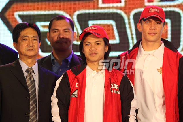 Jerick Canada (center) of the Asean Basketball League champion Indonesia Warriors is taken 28th by Barangay Ginebra.  Jerome Ascano