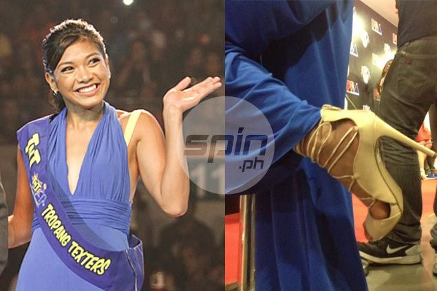 Alyssa Valdez shows off her stiletto shoes. Jerome Ascano/ Mei-Lin Lozada