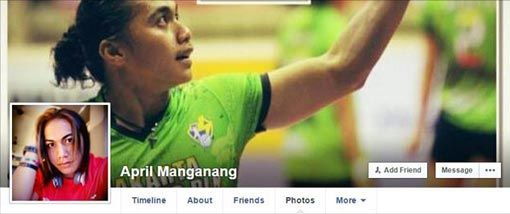 The cover page of the facebook fan page for April Manganang.