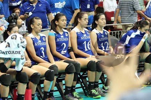 The Ateneo Lady Eagles use meditation to calm themselves during tough situations. Photo by Dante Peralta