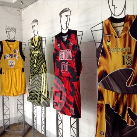 Some samples of BOTAK basketball jerseys on display in the old showroom in Kamuning.