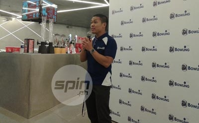 CJ, now the Division Manager for SM Bowling Centers, shares his plan with the media at the new facility in Megamall, SM's benchmark facility for bowling.