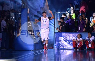 Gilas' Beau Belga is introduced to the crowd. Photo by Jaime Campos