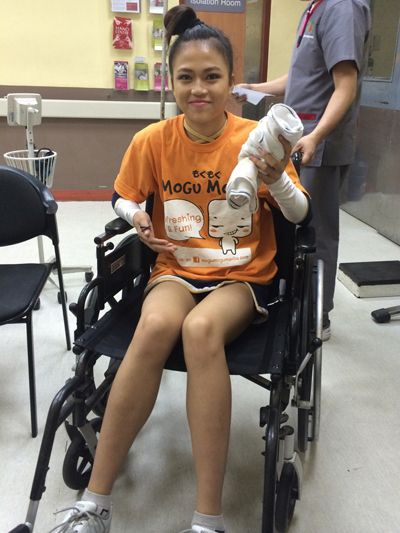 Claire Cristobal is treated in a hospital after a routine gone wrong. Snow Badua