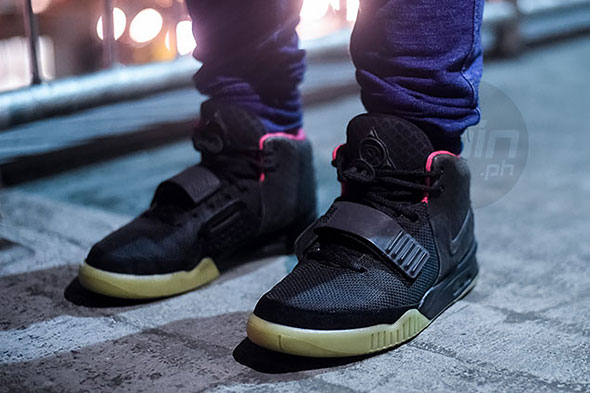 A rare pair of Nike Air Yeezy 2 Solar Reds made famous by rapper Kanye West in 2009.