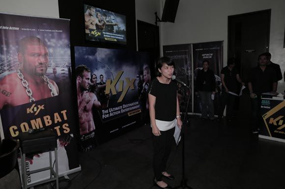 """Nadia Hwang, VP of advertising sales, formally announcing their partnership with Butty Media. She also expressed KIX's channel's plans of producing the """"Are You Tough Enough?"""" reality show next year."""
