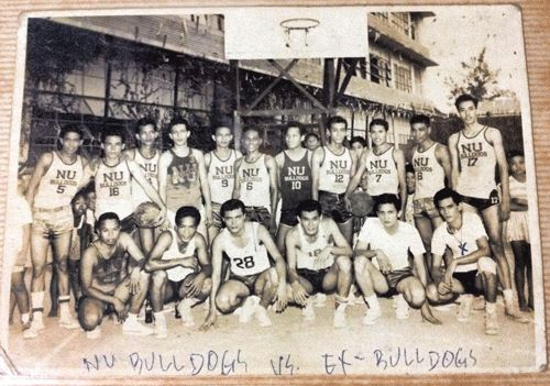 Members of the 1954 champion team pose for posterity after a game against former Bulldogs. The late Ben Francisco is in the front row wearing No. 28 while Nestor Sapida is the one marked with 'x' at far right.