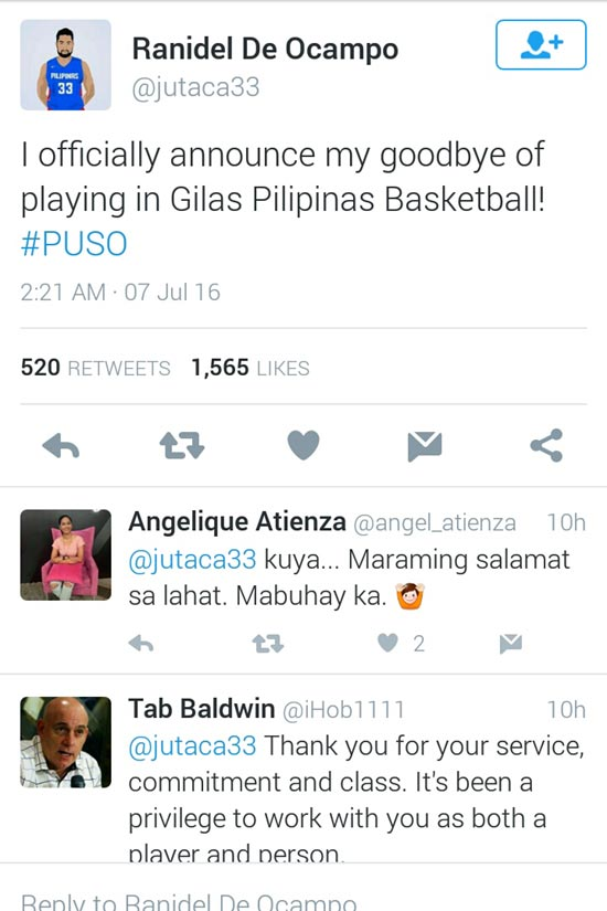 Screen grab from Ranidel De Ocampo's Twitter account