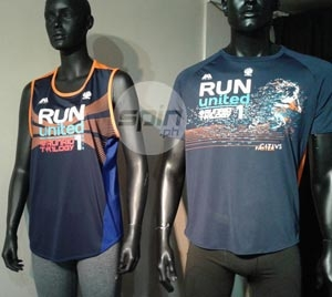 The RUN United 1 Cidius F Singlet and Finisher's shirt. The singlet is designed to reduce chafing  Another innovation is a sweat-triggered effect which makes the value