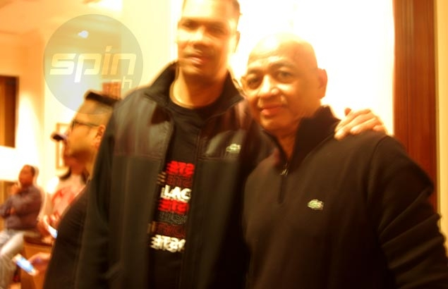 Former coach Rino Salazar, Peter Aguilar reunite with 'Ginebra fan' Pacquiao