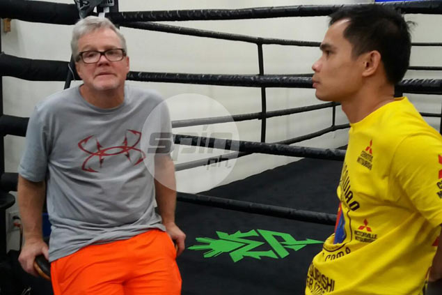 Marvin Somodio and Freddie Roach at the Wild Card Gym. Gerry Ramos
