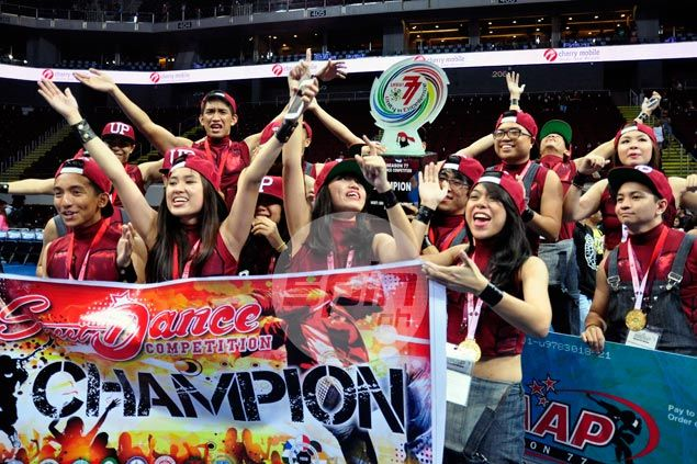 The UP street dancers celebrate the victory. Dante Peralta