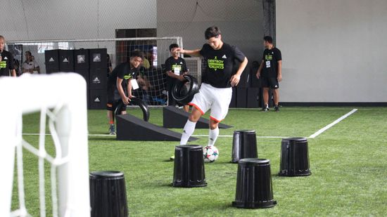 Chaos: Phil Younghusband tests the adidas X15.