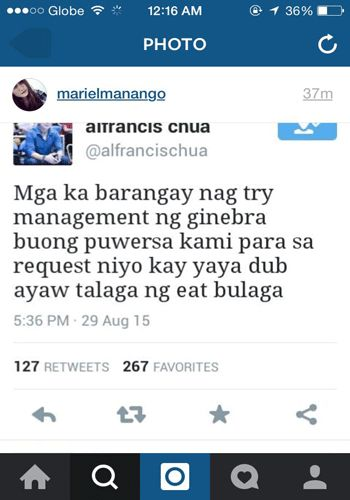 Screen grab from the tweeter account of Ginebra alternate governor Alfrancis Chua