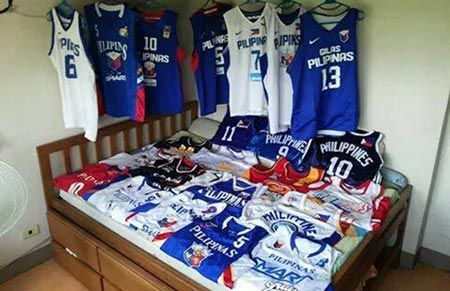 Examples of RP/Gilas jerseys on display.