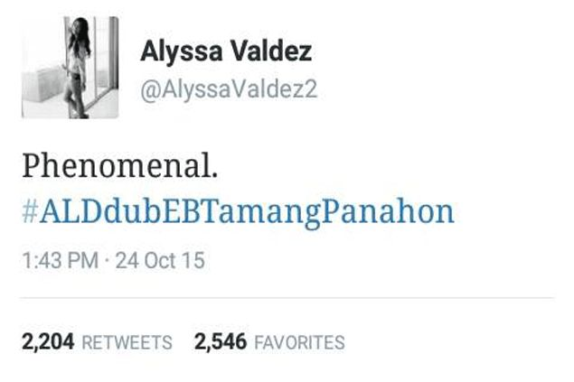 Alyssa Valdez's tweet about AlDub