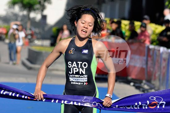 Japan's Chika Sato crosses the finish line to win the ASTC Asian Cup 2015 gold medal in the Women's Elite.