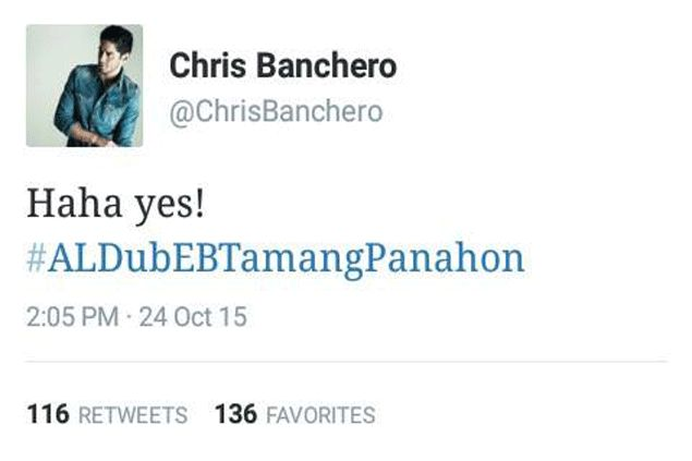 Chris Banchero's tweet about AlDub