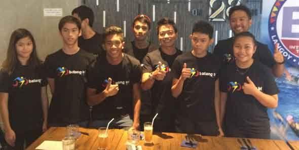 Members of the Batang Tri program at the press conference. (Photo by Dwight Pangilinan)
